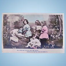 Tinted French Real Photo Postcard, The New Doll, Circa 1910s