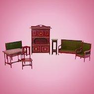 German Dollhouse Furniture, Gottschalk Parlor, Red and Gold, Circa 1910s