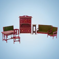 German Dollhouse Furniture, Gottschalk Parlor, Red and Gold, Circa 1910s