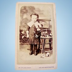 French Cabinet Card Photograph, Little Girl Holding China Head Doll, Early 1900s
