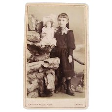 French Cabinet Card Photograph, Girl With Doll, Unusual Setting, Early 1900s