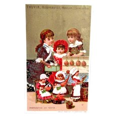 French Chromo Litho Trade Card, Dolls and Children, Preparing The Feast, Thuvin