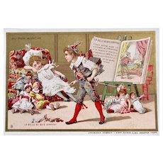 French Chromo Litho Trade Card, 6 Dolls, The Sleeping Beauty, Au Bon Marché