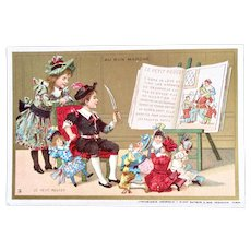 French Antique Chromo Litho Trade Card, Children and Dolls, Tom Thumb, Au Bon Marché