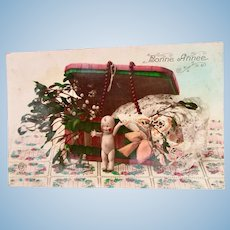 French Tinted Real Photo Postcard, Jointed Kewpie Doll, Dated 1924