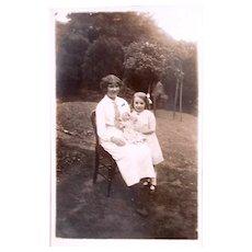 Nanny, Me and My Doll, British Real Photo Postcard, Circa 1910s