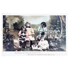 French Tinted Real Photo Postcard, Doll's Name Day, Postmarked 1907