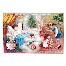 Antique German Litho Trade Card, Christmas Dreams, Liebig Extract