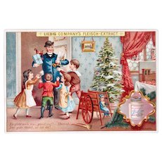 German Trade Card, Christmas Visit, Doll and Toys, Liebig