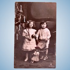 Belgian Real Photo Postcard, Children, Doll and Toys, Circa 1910s