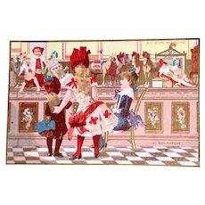 Antique French Chromo Litho Trade Card, 3 Girls, Dolls and Toys, Au Bon Marché