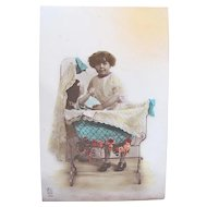 Tinted Belgian Real Photo Postcard, Girl Putting Doll To Bed, Vintage Early 1920s
