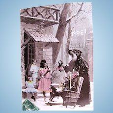 Tinted French Real Photo Postcard, Pere Noel, Children, Dolls and Toys, Noël, Postmarked 1912
