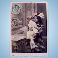 Tinted French Real Photo Postcard, Little Girl, Big Doll, Hydrangeas, Vintage Early 1900s
