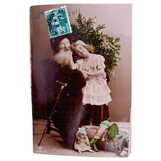 Tinted French Real Photo Postcard, Pere Noel, Girl, Christmas Tree, Dolls and Toys, 1908