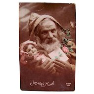 French Real Photo Postcard, Hand Tinted, Pere Noel, Doll and Roses, Vintage Early 1900s