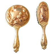 French Art Nouveau Doll or Child Size Hair Brush and Hand Mirror Set