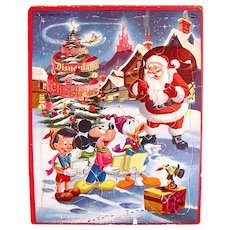 Early Disneyland Christmas Frame Tray Puzzle, Whitman Vintage 1957 - Red Tag Sale Item