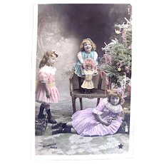 Hand Tinted French Real Photo Postcard, 3 Girls, Doll and Christmas Tree, Early 1900s