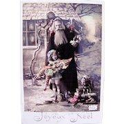 Hand Tinted French Real Photo Postcard, Santa, Boy, Dolls and Toys, Joyeux Noel, 1909