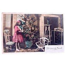 Tinted French Real Photo Postcard, Girl, Doll, Christmas Tree, Postmarked 1910