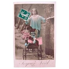Tinted French Real Photo Postcard, Angel, Doll and Pedal Car, Joyeux Noël, Circa 1900s