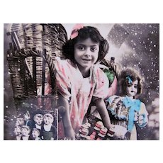 Tinted French Real Photo Postcard, Girl with Dolls and Toys, Happy New Year, 1910s