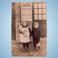 British Photo Postcard, Doll, Big Sister and Little Brother, Circa 1910s