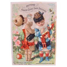 Humorous Trade Card, Doll, Children, Button's Shoe Dressing, Copyright 1882