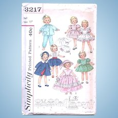 Shirley Temple Doll Clothes Pattern, Simplicity 3217, Size 15-Inch, Uncut, Factory Folded