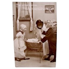 German Real Photo Postcard, Little Doctor & Doll, Postmarked 1911