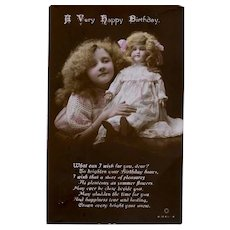 Hand Tinted British Real Photo Postcard, Girl and Doll, Circa 1915