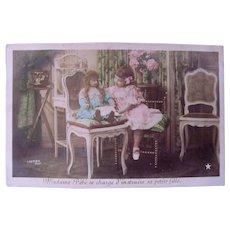 Tinted French Real Photo Postcard, Madame Bébé Teaches Her Doll, Circa 1910s
