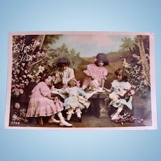 Tinted French Real Photo Postcard, Dolls' Tea Party, Circa 1910s