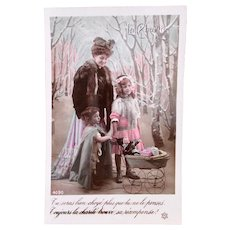 French Tinted Real Photo Postcard, Christmas Charity, Circa 1910s