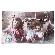 Tinted French Real Photo Postcard, 2 Little Angels and Dolls, Postmarked 1905