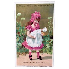 French Chromo Litho Trade Card, Girl Carrying Baby Doll, Chocolat Guerin-Boutron