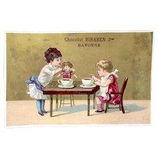 French Chromo Litho Trade Card, 2 Girls and Doll Drink Hot Cocoa, Chocolat Biraben Jne.