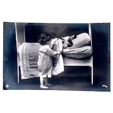 Real Photo Postcard, Girl and 3 Dolls, Bedtime, Circa 1910s