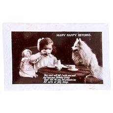 Tuck's Real Photo Postcard, Tea Party for Girl, Doll and Dog, Circa 1930s