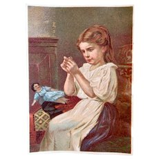 Antique French Litho Trade Card Calendar, Doll and Girl Threading Needle, Dated 1881