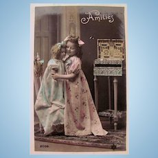 Hand Tinted French Real Photo Postcard, Little Girl and Huge Doll, Amitiés, Circa 1910s
