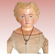 American 19th Century Papier Mache Shoulder Head Doll, 20-Inch, All-Original Finish, Red Leather Shoes