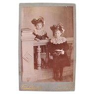 Large Cabinet Photo, 2 Little Girls in Plumed Bonnets, Edwardian Era From South Africa