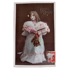 Hand Tinted French Real Photo Postcard, Girl, Doll and Toys, New Year, Vintage 1910s
