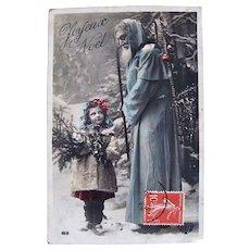 Tinted French Real Photo Postcard, Blue Robe Santa with Child, Joyeux Noël, Vintage 1910s