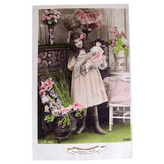 French Hand Tinted Real Photo Postcard, Girl and Doll In Matching Dresses, Christmas 1908