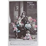 Hand Tinted French Real Photo Postcard, Santa, Children, Dolls and Toys, Christmas, Circa 1910s