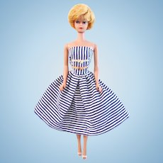 Barbie Doll Blonde Bubble Cut Wearing Cotton Casual Mattel 1962
