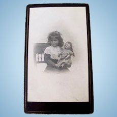 Antique Cabinet Card Photograph, Girl and Doll, Circa Early 1900s